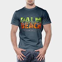 Мужская футболка темно-зеленого цвета бесшовная 100% хлопок, с надписью (салатово-оранжевая), размер L