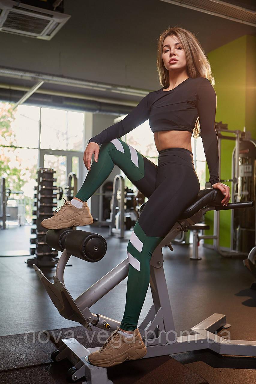 Спортивные Женские Лосины Nova Vega Mari Black&Green&White