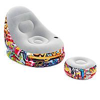 Надувное велюровое кресло с пуфом и подстаканником Bestway 75076, (121х100х86 см), граффити