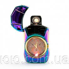 Электрическая спиральная зажигалка с часами  USB LIGHTER 813 + clock, аккумуляторная зажигалка