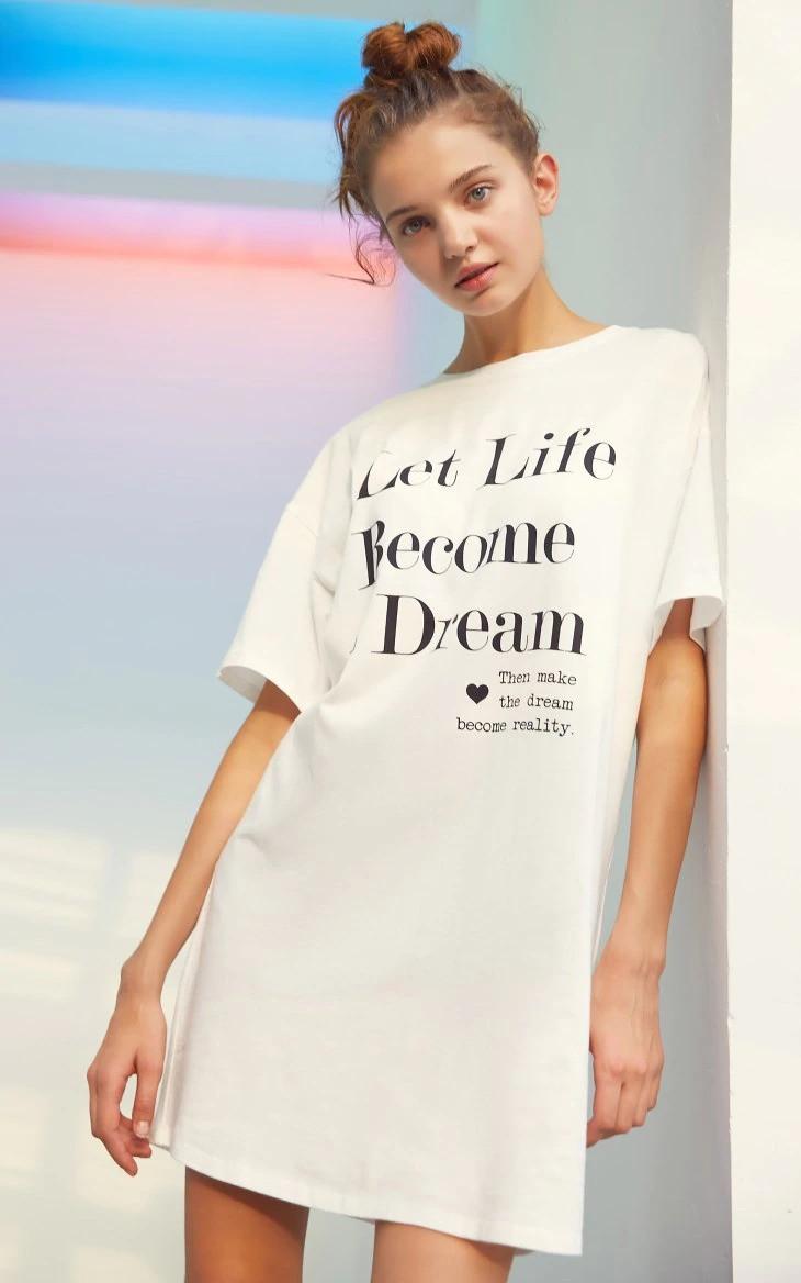 Платье-футболка женское домашнее. Ночная сорочка, туника рубашка для сна, размер M (белая)