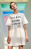 Платье-футболка женское домашнее. Ночная сорочка, туника рубашка для сна, размер M (белая), фото 2