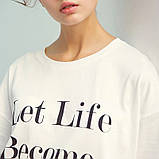Платье-футболка женское домашнее. Ночная сорочка, туника рубашка для сна, размер M (белая), фото 6