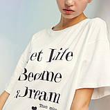 Платье-футболка женское домашнее. Ночная сорочка, туника рубашка для сна, размер M (белая), фото 7