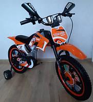 Детский велосипед Мотоцикл на 3-6 лет Trade. С дополнительными колесиками. 16 дюймов.