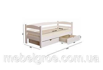 Деревянная односпальная кровать 80 Лёва(с ящиками) тм Мекано