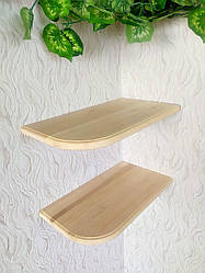 Настінна кухонна полиця кутова з натурального дерева від виробника (колір на вибір)