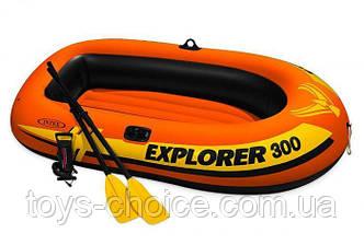Лодка  надувная Intex 58332 EXPLORER 300 с пластиковыми веслами и насосом. Оранжевый PS