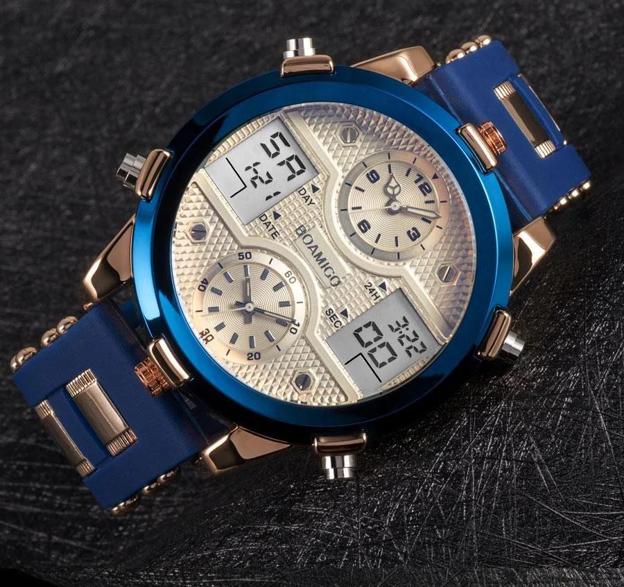 Часы мужские с синим ремешком, качество