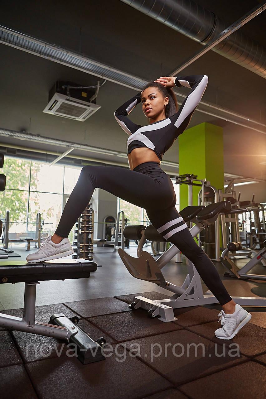 Тренировочные Женские Леггинсы Nova Vega Adel Black&White Высокий Пояс
