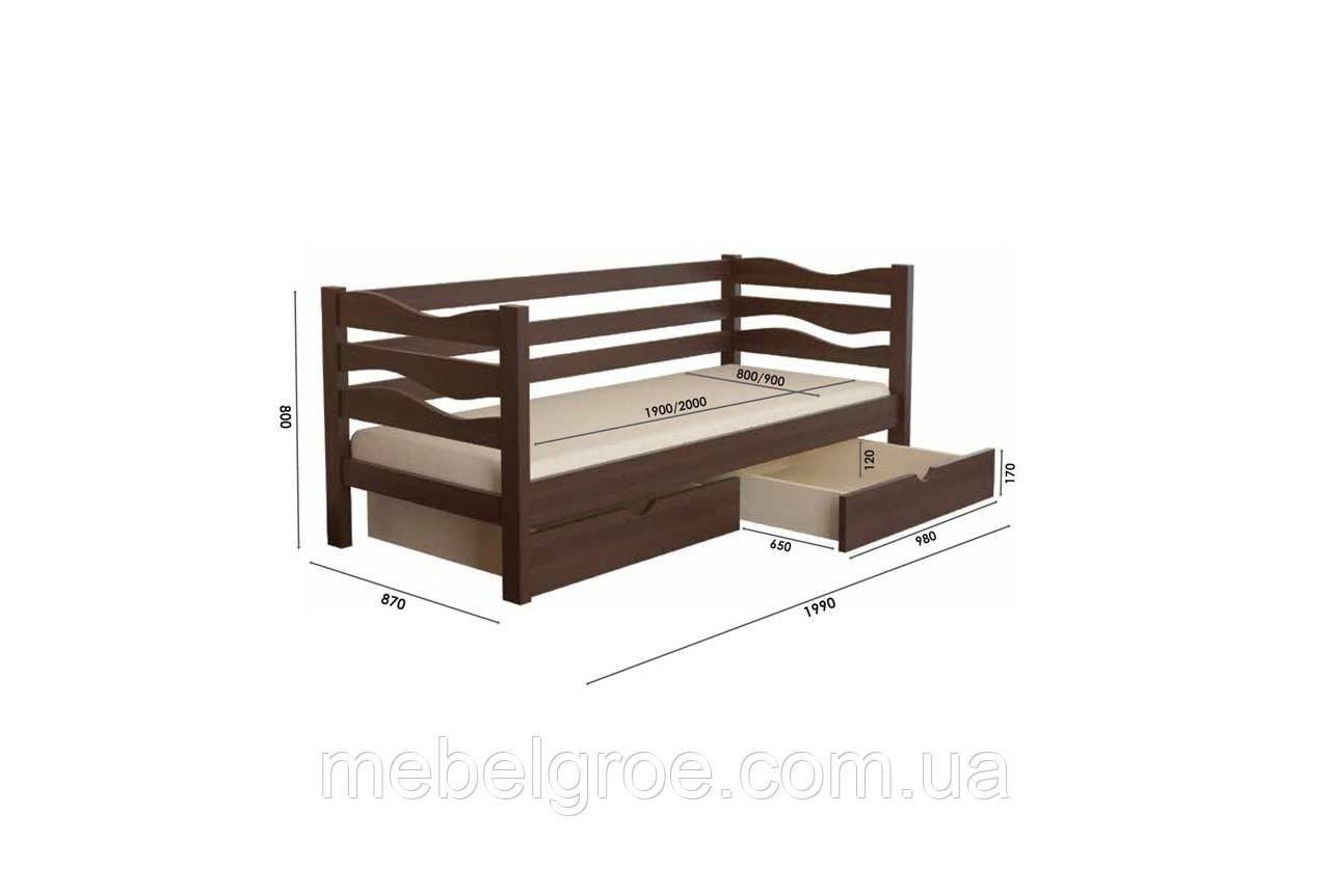 Деревянная односпальная кровать 90 Делиция(с ящиками) тм Мекано