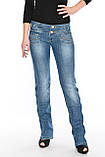 Женские джинсы с широким поясом OM 9618 синие, фото 3