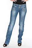 Женские джинсы с широким поясом OM 9618 синие, фото 4