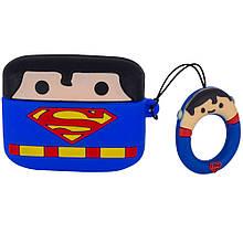Чехол silicone Marvel and DC Airpods Pro + кольцо супермен/синий