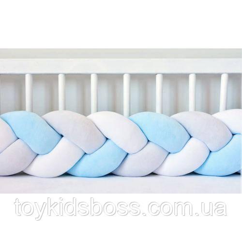 Бортик в кроватку Хатка Косичка Бело-Голубой с Серым 120 см (одна сторона кроватки)