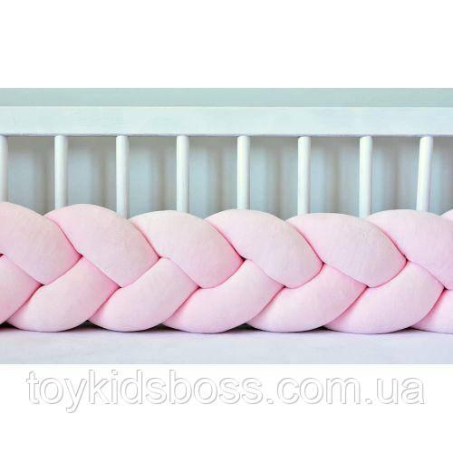 Бортик в ліжечко Хатка Косичка Ніжно-рожевий 120 см (одна сторона ліжечка)