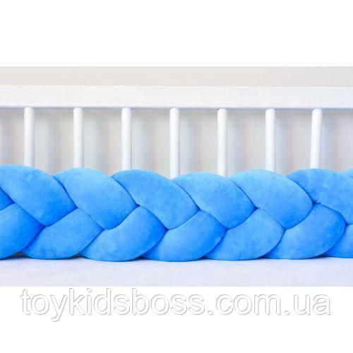 Бортик в кроватку Хатка Косичка Голубой 120 см (одна сторона кроватки)