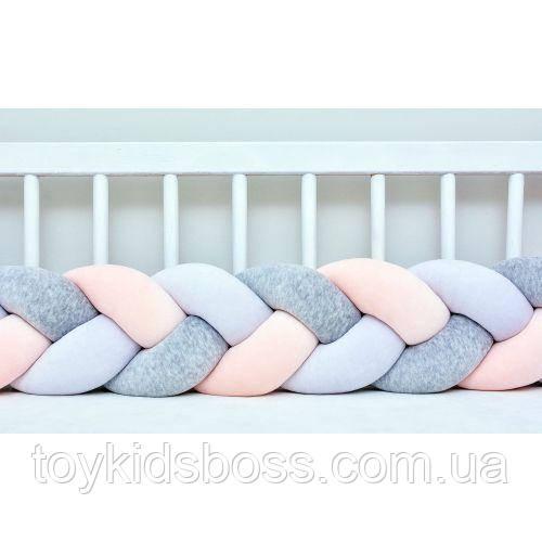 Бортик в ліжечко Хатка Косичка Біло-рожевий з Сірим 120 см (одна сторона ліжечка)