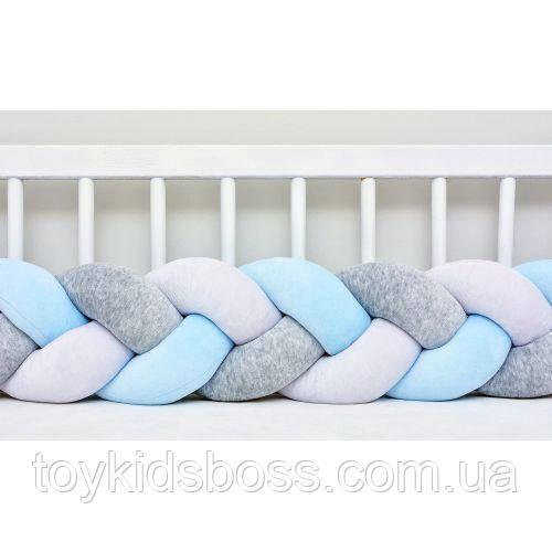 Бортик в ліжечко Хатка Косичка Біло-блакитний з Сірим 120 см (одна сторона ліжечка)