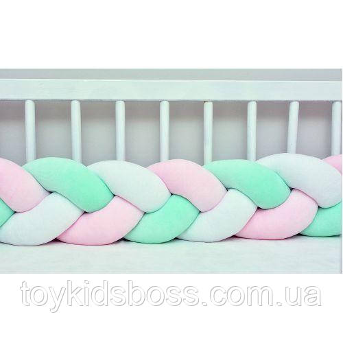 Бортик в кроватку Хатка Косичка Бело-розовый с Мятным 120 см (одна сторона кроватки)