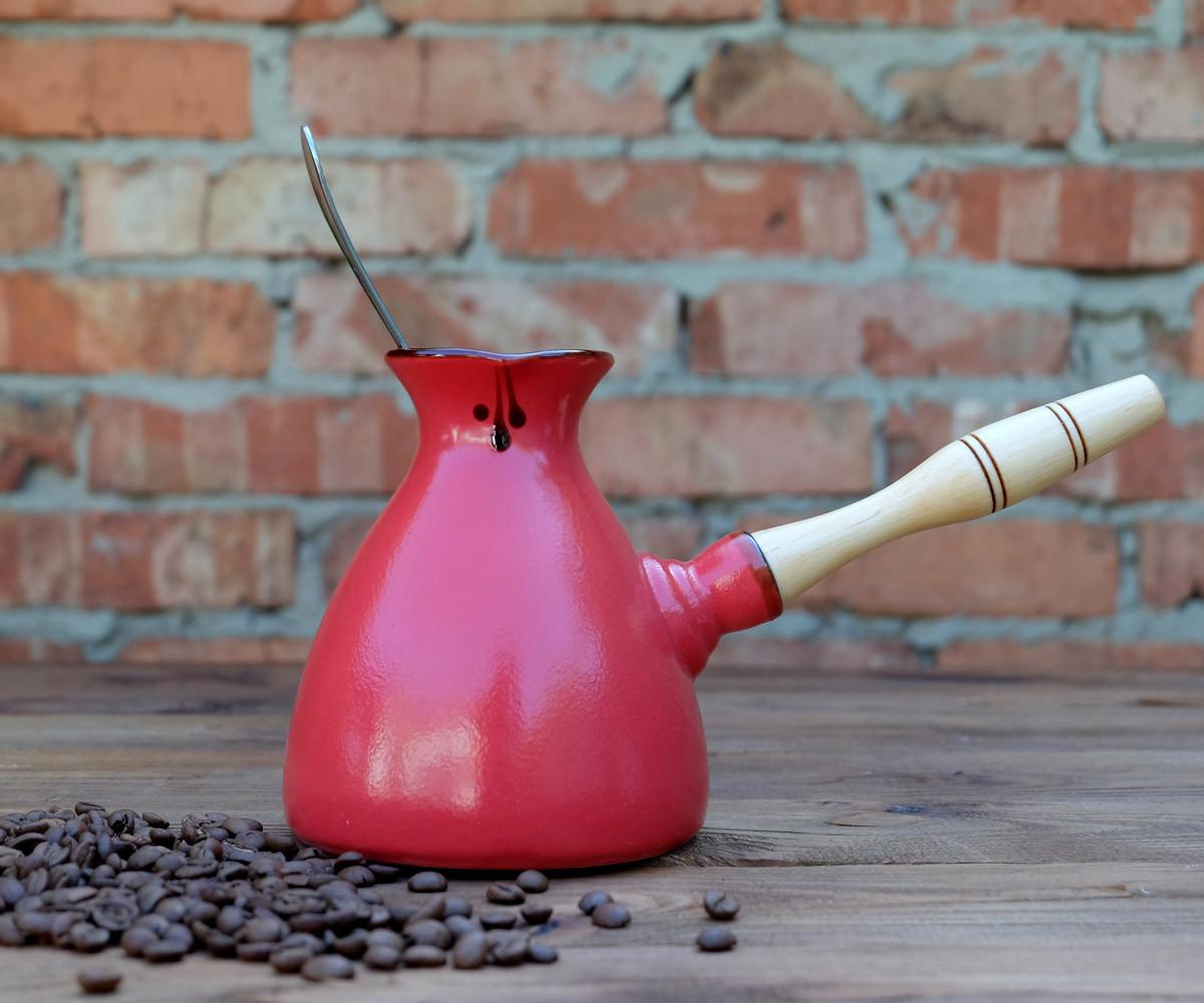 Турка для кофе Kingsize Red керамика 600 мл + ложка с длинной ручкой и рассекатель