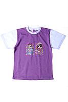 Стильная футболка с принтом для девочки  6 лет (116 см). Цвет фиолетовый. Бренд Bittos.