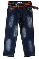 Прикольные джинсы с потертостями для ребенка 2-3 года (92-98 см). Есть пояс. Цвет тёмно-синий. Бренд TATI.