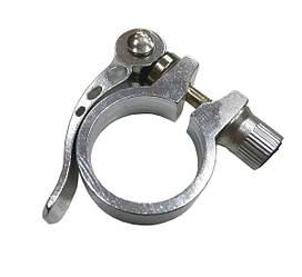 Хомут подседельный серебристый с эксцентриком 31.8 мм