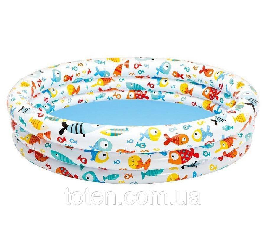 Бассейн надувной детский  132х28 см. Intex 59431 Рыбки 3 яруса Т