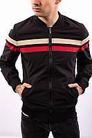 Мужская ветровка черная полиэстер осень и весна Турция демисезонная куртка с воротником стойка на манжетах