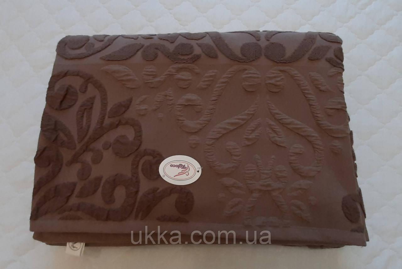 Простынь покрывало махровая евро 200х230см Турция коричневая орнамент