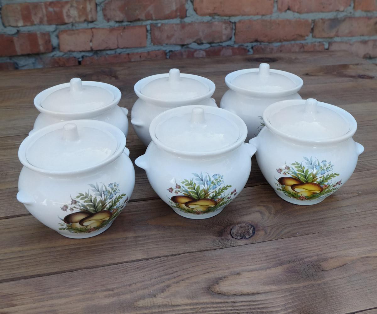 Горшочки для запекания в духовке 6 шт из керамики белый гриб 450 мл