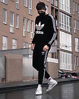 Мужской летний Спортивный костюм Adidas Trine черный с белыми полосками