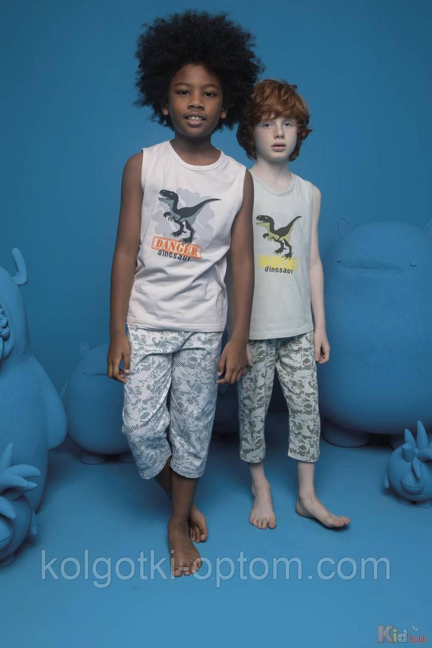 ОПТОМ Пижама бриджи и майка Danger Dinosaur для мальчика 6-7 лет (122 см.)  Donella 8697840566593