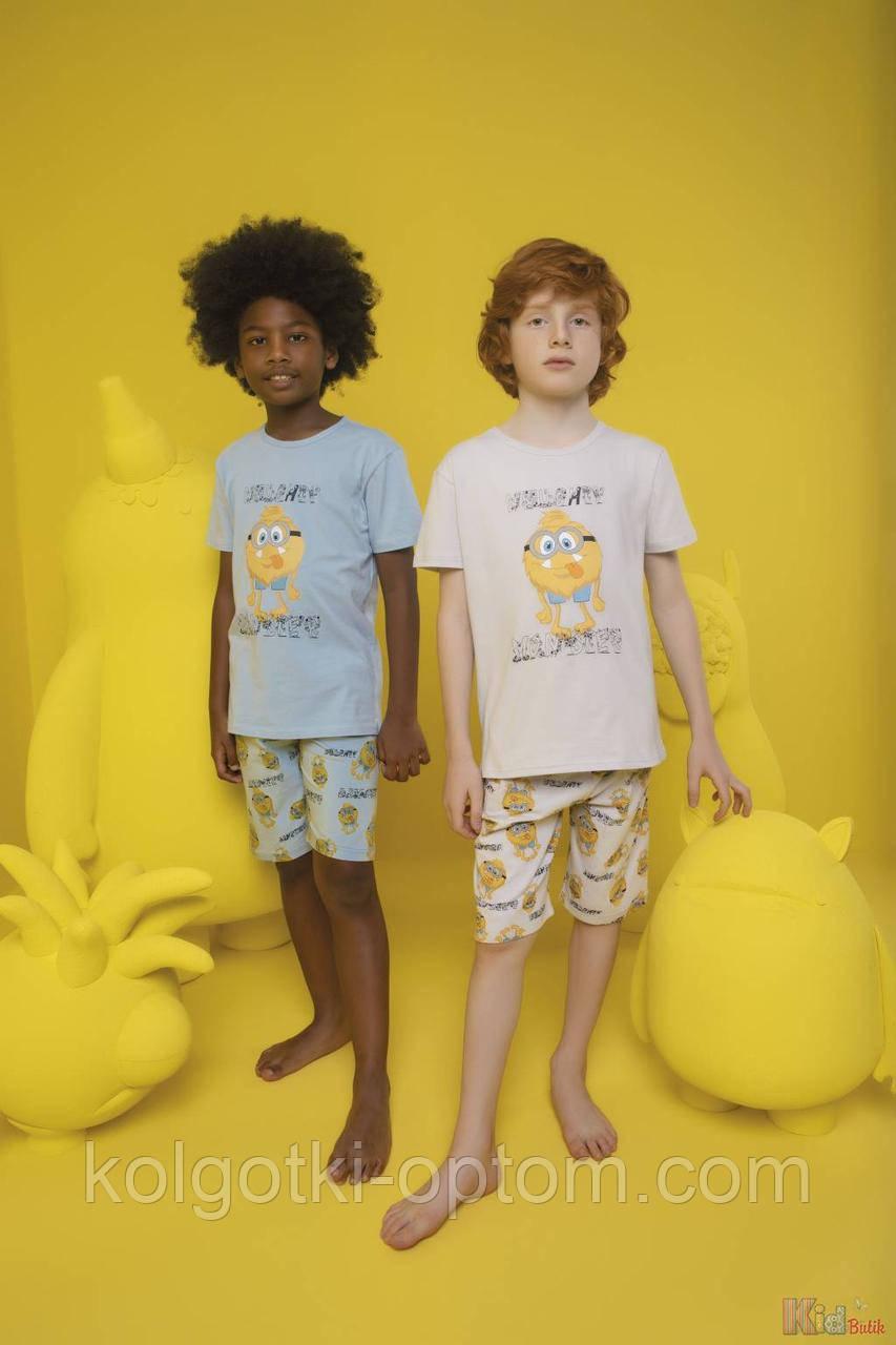 ОПТОМ Пижама шорты и футболка с монстриком для мальчика 4-5 лет (110 см.)  Donella 8697840566890