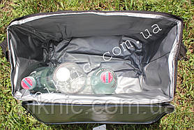 Термосумка 34л + Аккумулятор холода. Сумка холодильник для воды пива пикника 23х34х39 см. Бордовый, фото 2