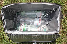 Термосумка 34л + Аккумулятор холода. Сумка холодильник для воды пива пикника 23х34х39 см. Бордовый, фото 3