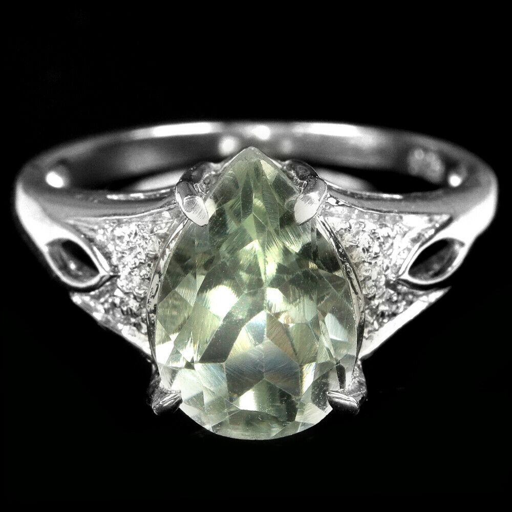 Срібне кільце з аметистом зеленим, 2393КЦА