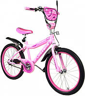 Двухколесный детский велосипед для девочки 20 дюймов Like2bike Active 192028 Розовый со звонком и зеркалом