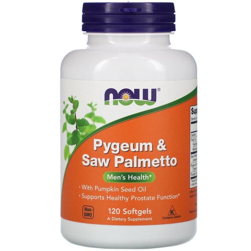 """Экстракт пальмы сереноа и африканской сливы NOW Foods """"Pygeum & Saw Palmetto"""" (120 гелевых капсул)"""