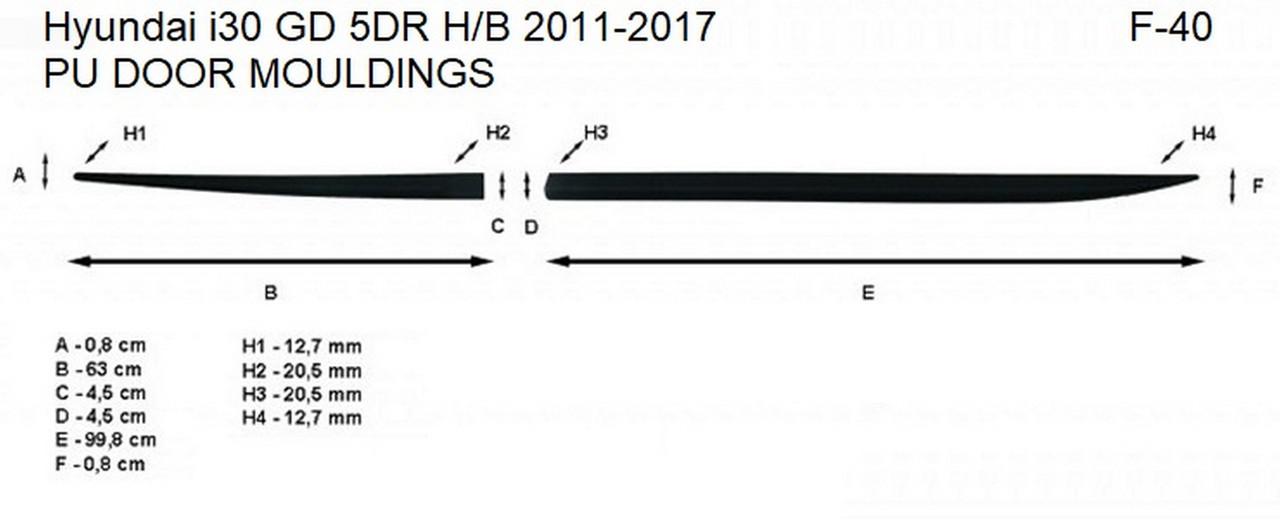 Молдинги на двері для Hyundai i30 GD 5Dr 2011-2017, фото 5