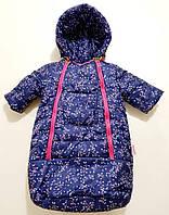 Конверт зимний для новорожденной девочки синий с розовым в цветах ,от 0 до 6 месяцев.