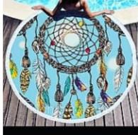 Круглые Пляжные полотенце фибра ФЛАМИНГО 150 в диаметре