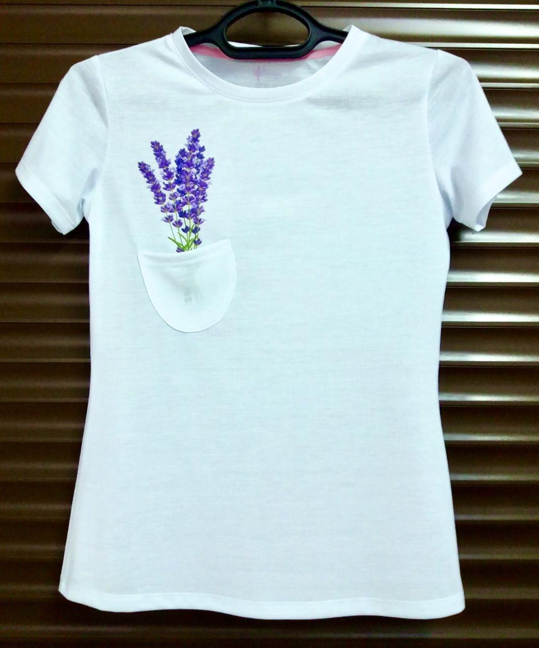 Женская белая футболка с кармашком и принтом Цветок из хлопка