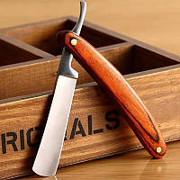 Опасная бритва Qshave из высокоуглеродистой стали и деревянной ручкой