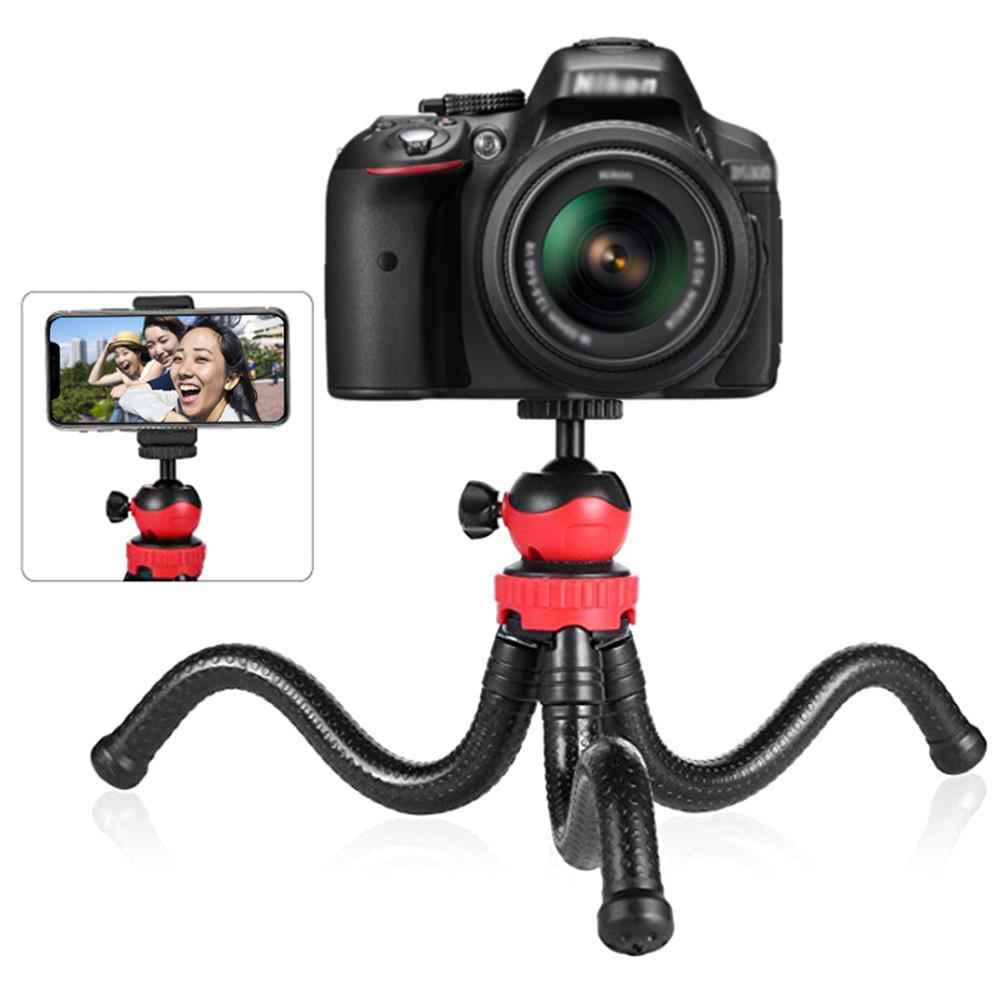 Гибкий штатив тринога трипод для телефона и фотоаппарата (паук) (черно-красный)