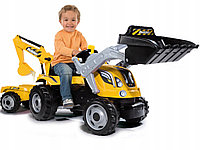 Детский трактор на педалях Smoby 710301 с 2-мя ковшами и прицепом