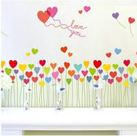 Интерьерная декоративная наклейка на стену в детскую комнату Букет из сердечек SK7098