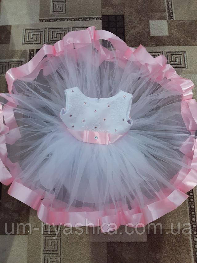 розовое платье с кружевом на годик