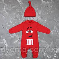 """Детский человечек с шапочкой """"M&M's""""  для новорожденных (кулир), фото 2"""